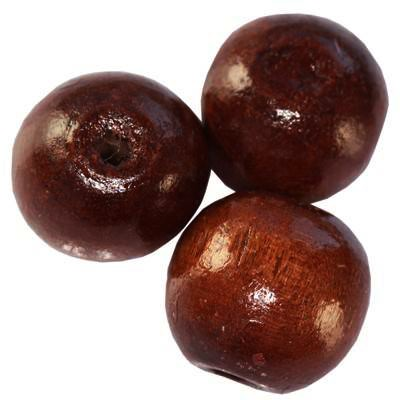 round wooden beads dark brown 15 x 16 mm