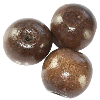 perles rondes en bois brun