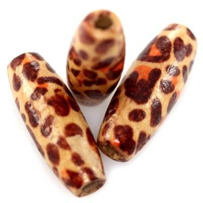 ovals wooden beads jaguar 8 x 23 mm