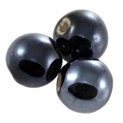 kule porcelanowe błyszczące czarne 14 mm
