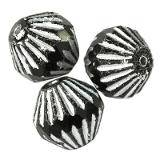 bicones black silver 11 x 11 mm