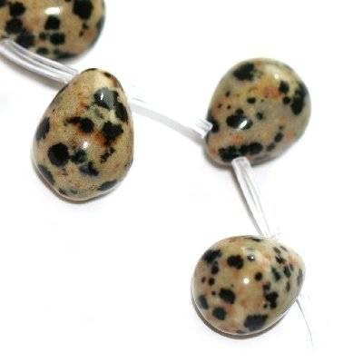 łezki jaspis dalmatyńczyk 12 x 16 mm kamień naturalny