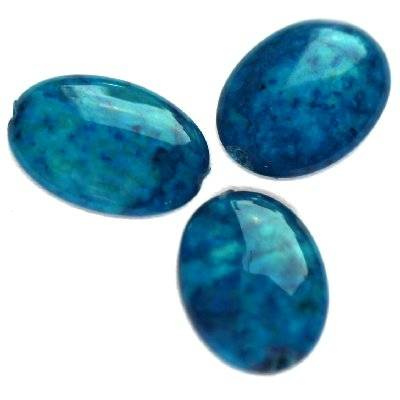 ovals marble dyed blue 10 x 14 mm