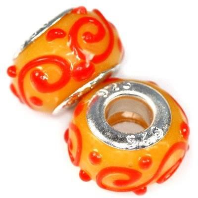 perline modulari rossi onde sull'arancia 9 x 14 mm