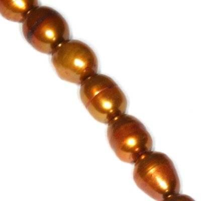perełki słodkowodne 5 x 7 mm złote