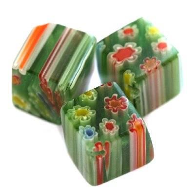 cubes green millefiori flowers 10 mm