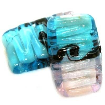 lampwork beads rough waves rectangles blue pink 15 x 25