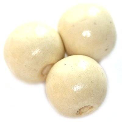 round wooden beads white 15 x 16 mm