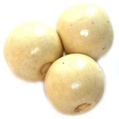 perles rondes en bois écru 15 x 16 mm