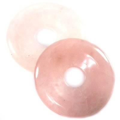 rose quartz donuts 40 mm / semi-precious stone