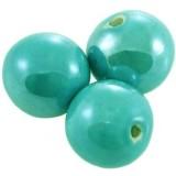 boules en porcelaine brillantes turquoise 20 mm