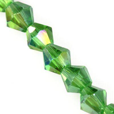 Crystaline bicônes verts AB 4 mm / perles de cristal