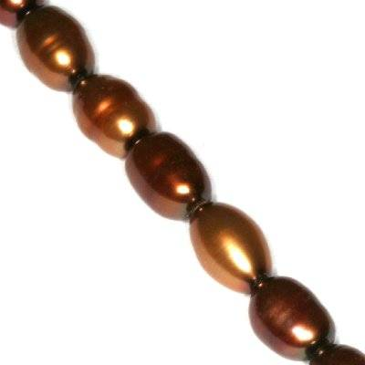perełki słodkowodne 5 x 7 mm brązowe