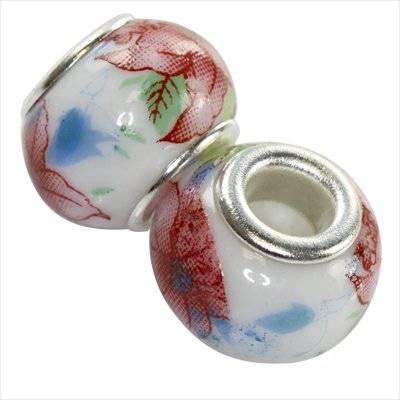perles modulaires en céramique fleur bordeaux 10 x 13 mm