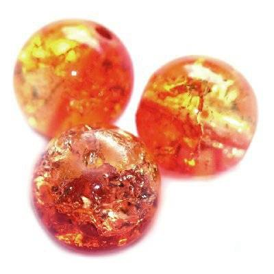 crackle beads beads orange 6 mm