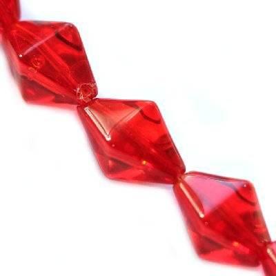 glass beads rhoumbus red 15 x 10 mm