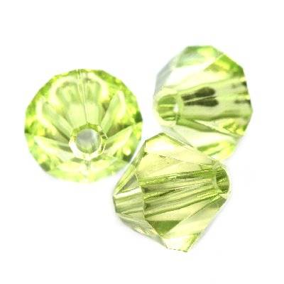 plastic bicone beads green 10 mm