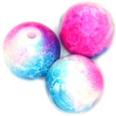 glass beads painted pink-blue 12 mm
