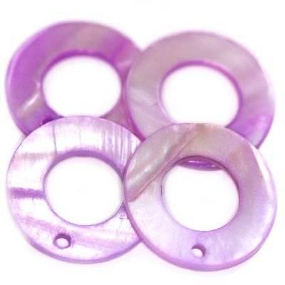 zawieszki masa perłowa koła ametystowe 20 x 9 mm