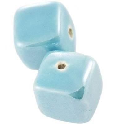 cubetti di porcellana luccicanti turchesi 16 mm