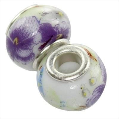 modular beads ceramic lilac flower 10 x 13 mm