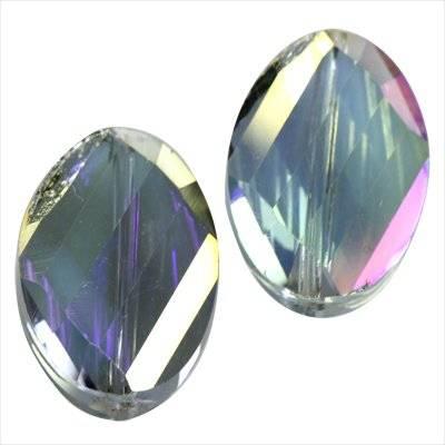 Cristaux de teinte argentée facettes planes perles ab torsion ovale 13 x 18 mm
