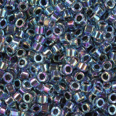 Perles Miyuki Delica aqua inside dyed steel blue ab 1.6 x 1.3 mm DB-85