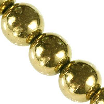 hematite beads gold 4 mm / semi-precious stone synthetic