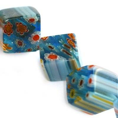cubes turquoise millefiori flowers 10 mm