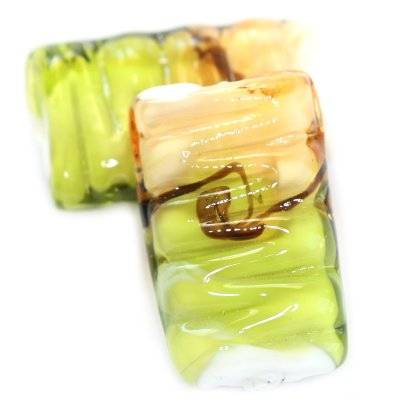 lampwork beads rough waves rectangles cream green 15 x 25