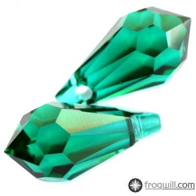 Swarovski drop pendants emerald 11 x 5.5 mm