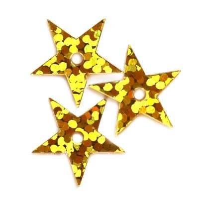 sequins laser stars gold 13 mm
