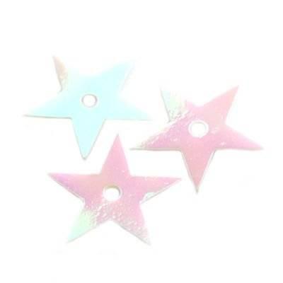 cekiny kremowo - tęczowe gwiazdki białe 13 mm