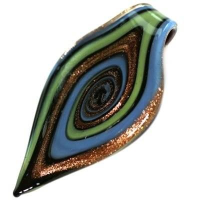 Perles de verre pendentifs feuilles grain de saphir 40 x 76 mm