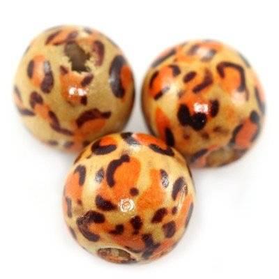 perles rondes en bois léopard 10 mm