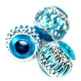 round aluminium beads azure 12 mm
