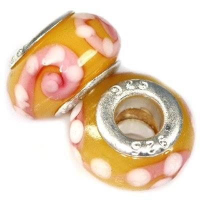 perline modulari chiocciole sullo sfondo all'ambra 9 x 14 mm