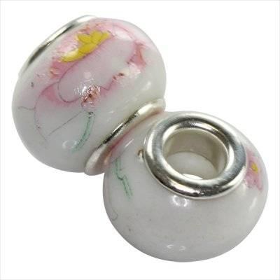 perles modulaires en céramique fleur rose 10 x 13 mm