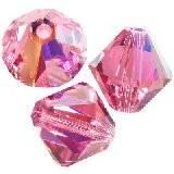 Swarovski bicone beads rose ab 6 mm