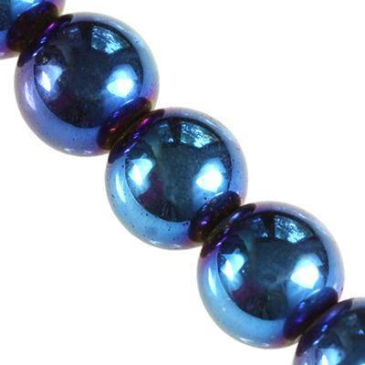 hematite beads blue 4 mm / semi-precious stone synthetic