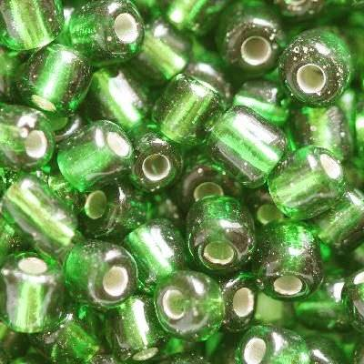 glass seed beads dark green 3.5 mm