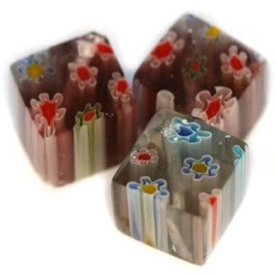 kostki ametystowe millefiori kwiatki 10 mm / koraliki szklane