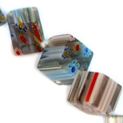 cubes améthyste fleurs millefiori 10 mm