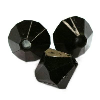кристали пластмасови форма диамант черни 10 мм