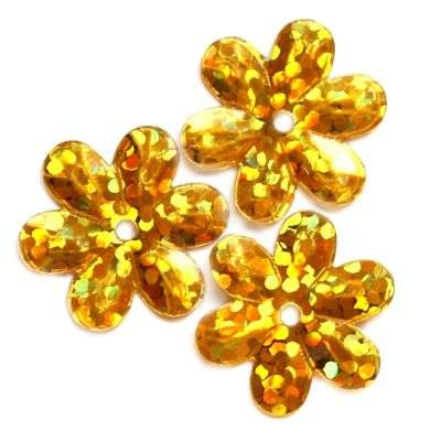 sequins laser flowers gold 15 mm