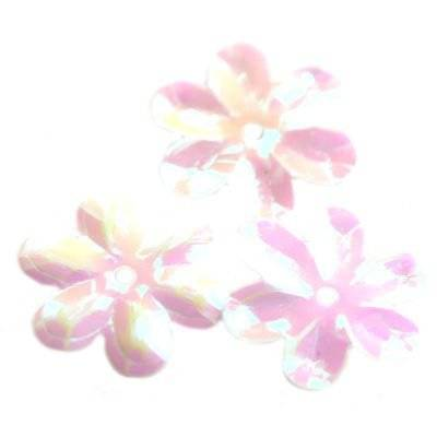 sequins cream - rainbow flowers white 15 mm