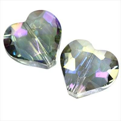 crystals flat faceted silver shade ab beads heart 19 x 18 mm