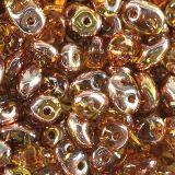 Koraliki SuperDuo vacuum coating topaz gold capri 2,5 x 5 mm / koraliki dwudziurkowe