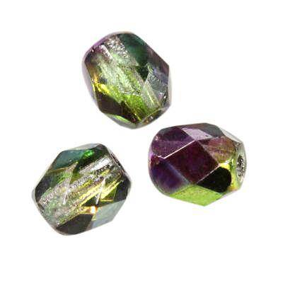 round beads vitrail green violet 4 mm