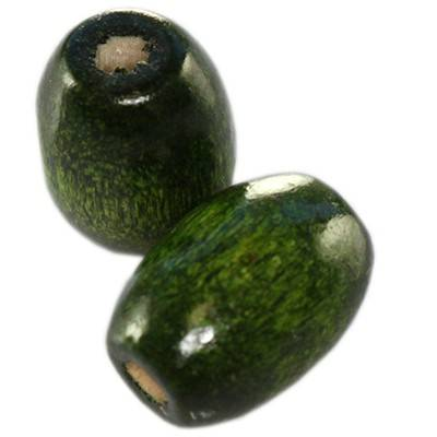 ovals wooden beads dark green 12 x 8 mm